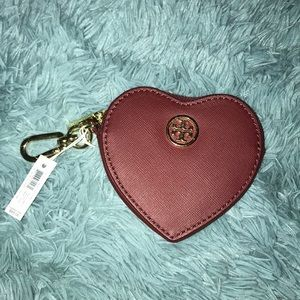NWT Tory Burch heart key fob
